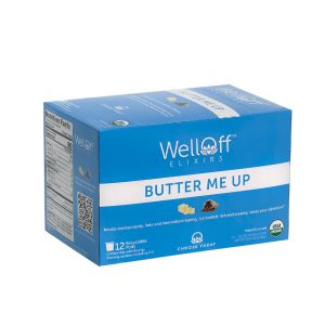 A blue box of WellOff Butter Me Up drink elixirs