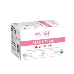 A pink and white box of WellOff Beautify Me antioxidant tea