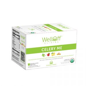 A green and white box of WellOff Celery Me drink elixirs