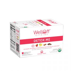 A red and white box of WellOff Detox Me drink elixirs