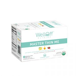 A teal and white box of WellOff Master Thin Me drink elixirs