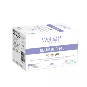 A purple and white box of WellOff Slumber Me drink elixirs