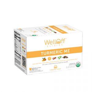 An orange and white box of WellOff Turmeric Me drink elixirs