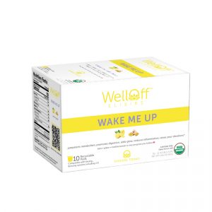 A yellow and white box of WellOff Wake Me Up drink elixirs
