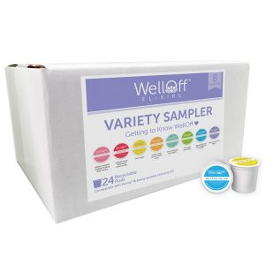 A variety sample box of WellOff elixirs beside two recyclable pod