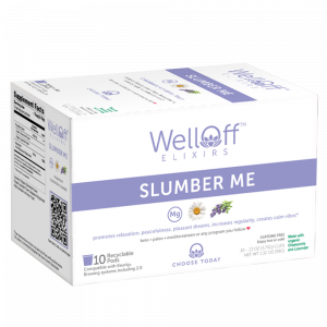 WellOff's Slumber Me elixir, featuring a unique blend of magnesium, organic chamomile flower, and organic lavender