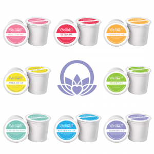 An array of colorful, healthy K-Cup tea pods from WellOff Elixirs